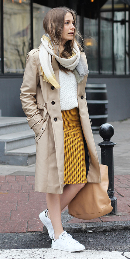 yellow-pencil-skirt-white-sweater-yellow-scarf-hairr-tan-jacket-coat-trench-tan-bag-tote-white-shoe-sneakers-fall-winter-weekend.jpg