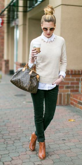 green-dark-skinny-jeans-white-sweater-white-collared-shirt-cognac-shoe-booties-bib-necklace-blonde-sun-bun-brown-bag-fall-winter-lunch.jpg