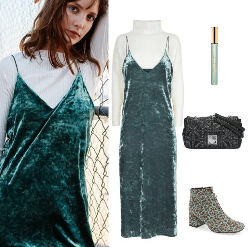 how-to-style-white-sweater-turtleneck-green-emerald-dress-slip-velvet-green-shoe-booties-black-bag-fall-winter-fashion-lunch.jpg