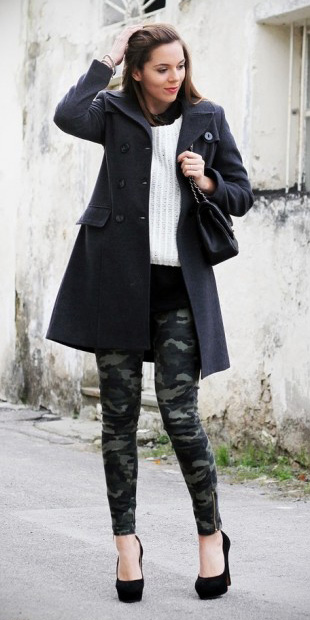 green-olive-skinny-jeans-camo-print-white-sweater-black-bag-black-shoe-pump-grayd-jacket-coat-fall-winter-brun-work.jpg