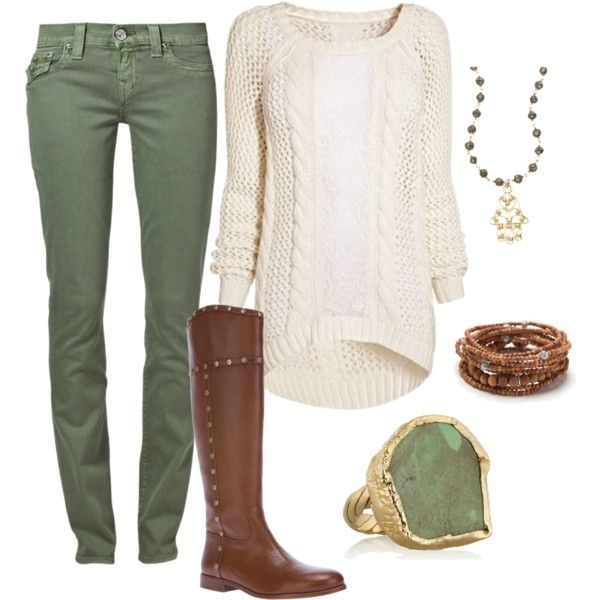 green-olive-skinny-jeans-white-sweater-ring-brown-shoe-boots-necklace-bracelet-fall-winter-weekend.jpg