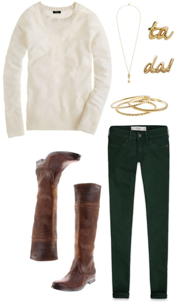 green-dark-skinny-jeans-white-sweater-brown-shoe-boots-necklace-bracelet-howtowear-fashion-style-fall-winter-outfit-lunch.jpg