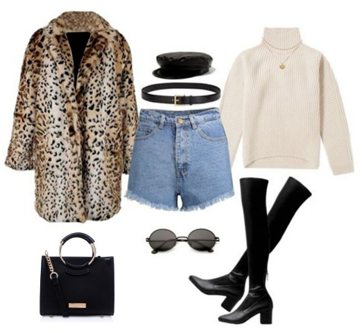 blue-light-shorts-denim-belt-hat-newsboycap-white-sweater-turtleneck-black-shoe-boots-sun-black-bag-tan-jacket-coat-leopard-print-fall-winter-lunch.jpg