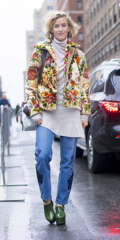 blue-med-skinny-jeans-green-shoe-booties-white-sweater-turtleneck-yellow-jacket-bomber-print-floral-white-bag-blonde-bob-fall-winter-weekend.jpg