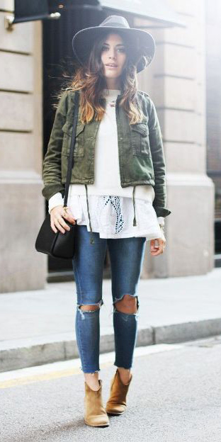 blue-med-skinny-jeans-white-sweater-cognac-shoe-booties-hat-hairr-green-olive-jacket-utility-fall-winter-weekend.jpg