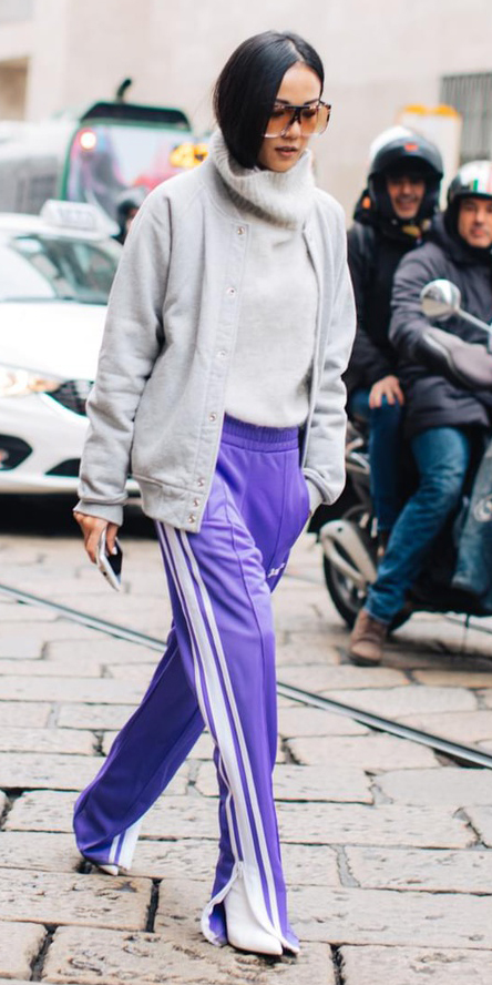 purple-royal-wideleg-pants-trackpants-white-sweater-turtleneck-brun-sun-white-shoe-booties-grayl-jacket-bomber-fall-winter-lunch.jpg