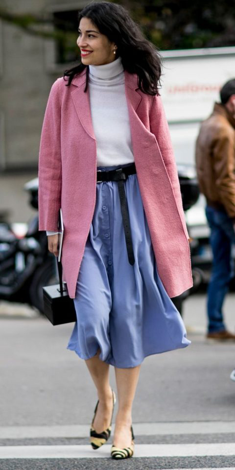 purple-light-midi-skirt-belt-pastel-pink-light-jacket-coat-white-sweater-turtleneck-yellow-shoe-pumps-black-bag-fall-winter-brun-work.jpg