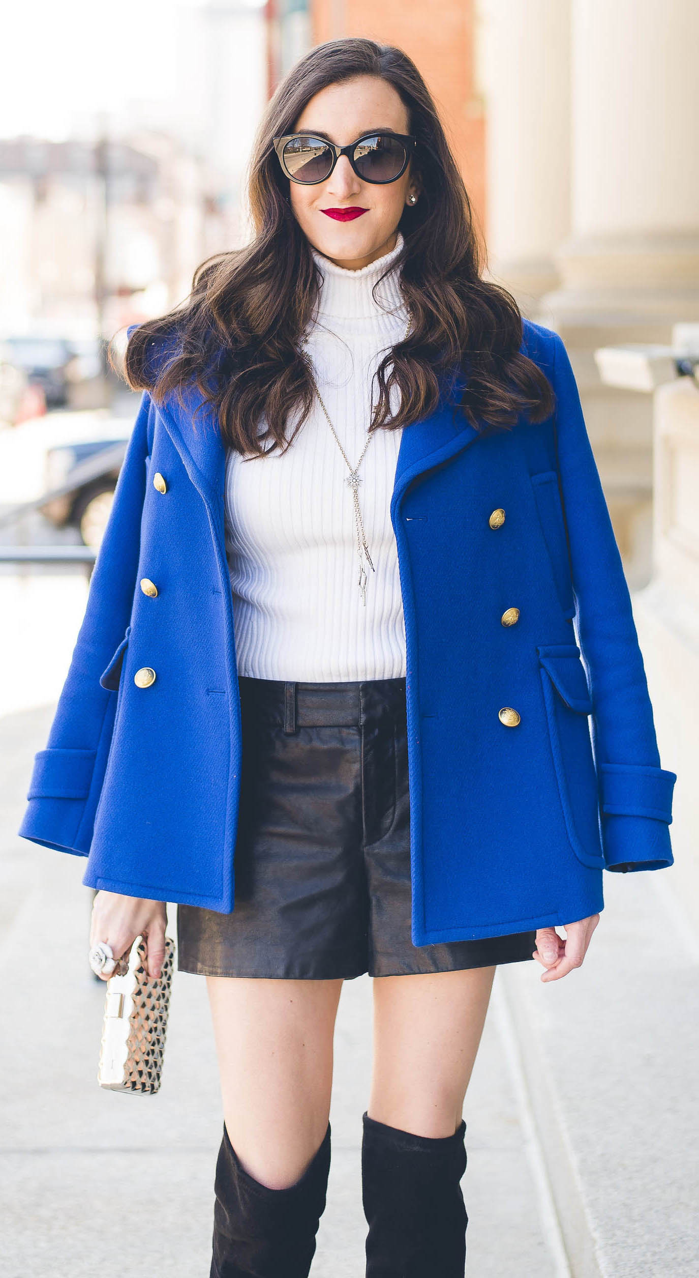 black-shorts-leather-white-sweater-turtleneck-brun-sun-black-shoe-boots-otk-cobalt-blue-med-jacket-coat-peacoat-fall-winter-lunch.jpg