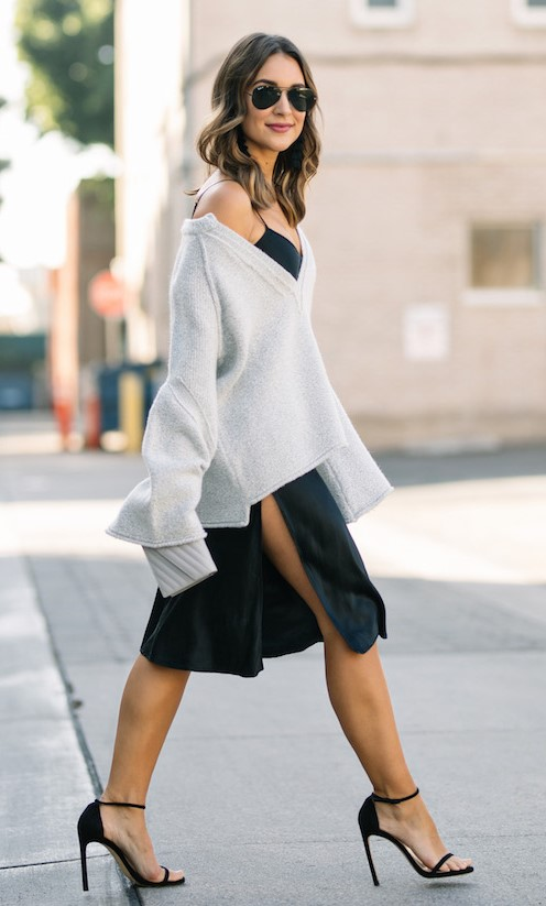 black-dress-slip-white-sweater-black-shoe-sandalh-hairr-sun-fall-winter-lunch.jpg