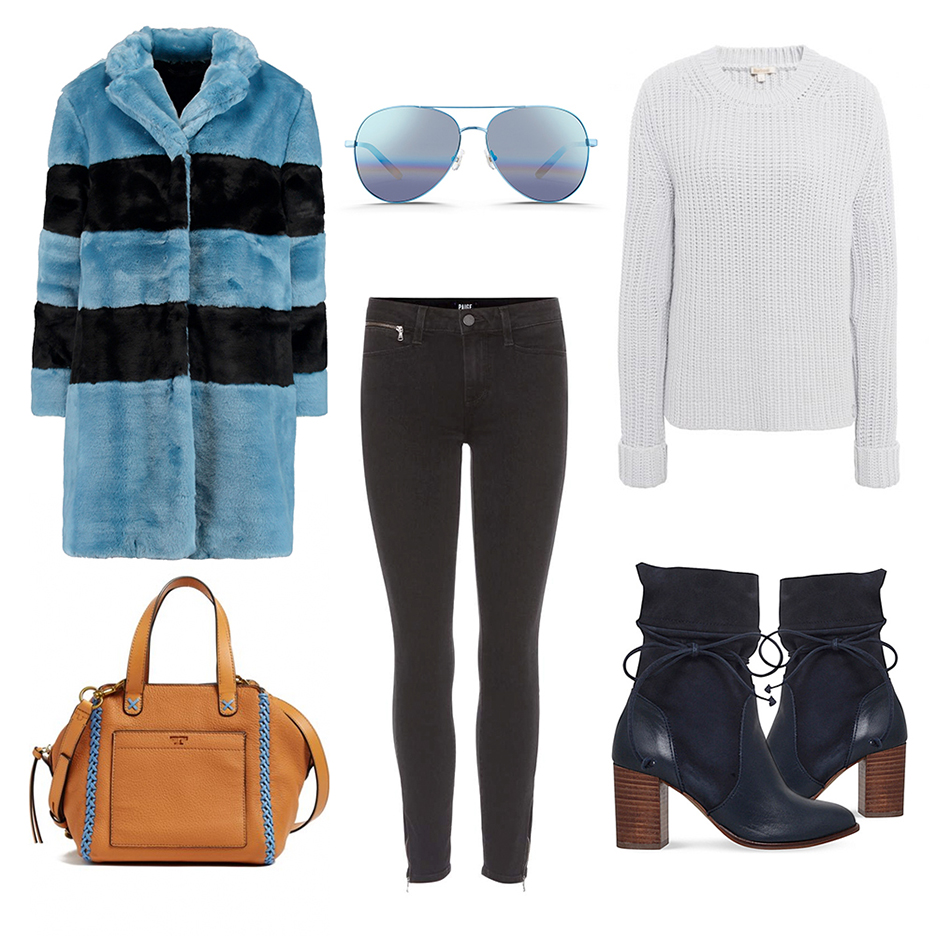 black-skinny-jeans-blue-shoe-booties-white-sweater-yellow-bag-sun-blue-light-jacket-coat-fur-stripe-fall-winter-weekend.jpg