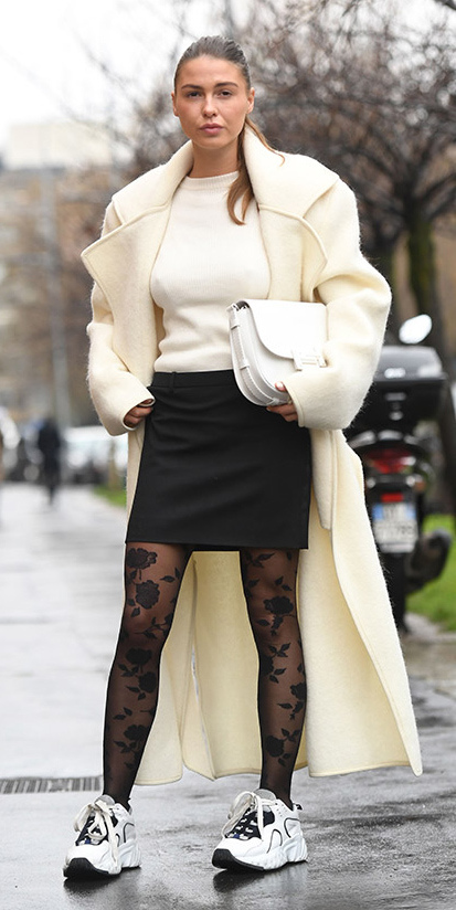 black-mini-skirt-white-sweater-black-tights-floral-white-shoe-sneakers-white-bag-blonde-pony-white-jacket-coat-fall-winter-lunch.jpg
