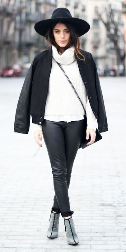 how-to-style-black-skinny-jeans-white-sweater-turtleneck-black-bag-black-jacket-bomber-hairr-hat-fall-winter-fashion-lunch.jpg