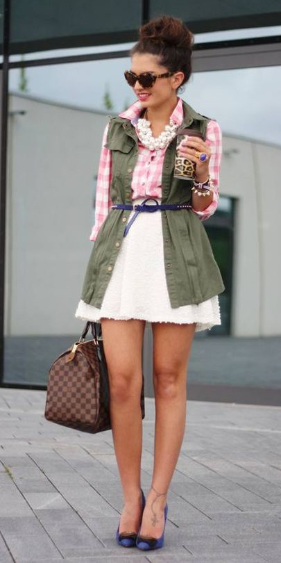 white-mini-skirt-pink-light-collared-shirt-gingham-pearl-bib-necklace-skinny-belt-green-olive-vest-utility-brown-bag-blue-shoe-pumps-bun-hairr-spring-summer-lunch.jpg