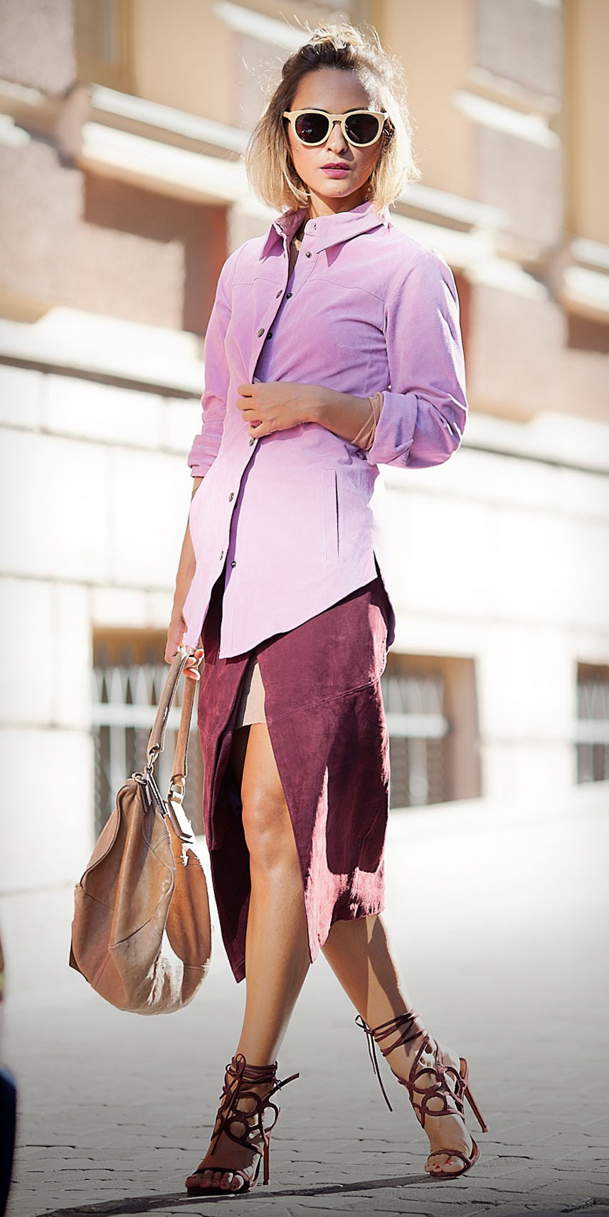 burgundy-midi-skirt-wrap-tan-bag-blonde-sun-bob-burgundy-shoe-sandalh-tonal-pink-light-collared-shirt-spring-summer-lunch.jpg