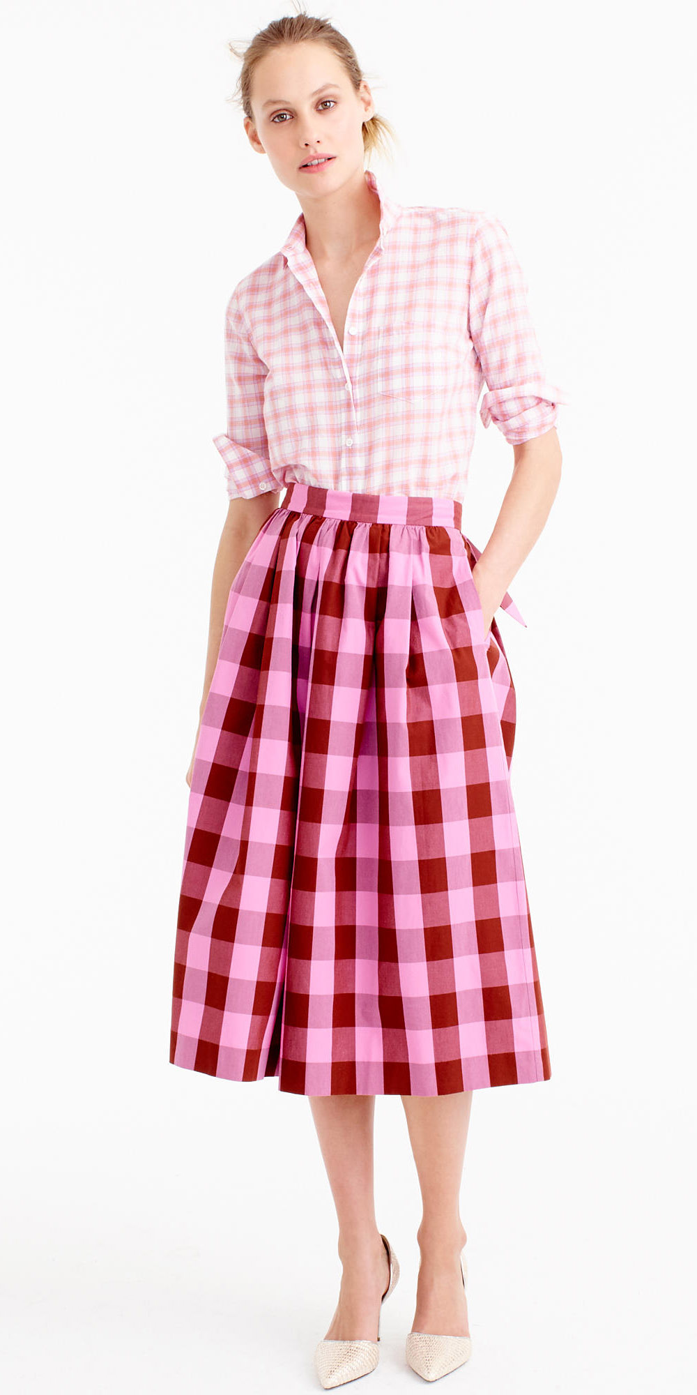 pink-magenta-midi-skirt-gingham-print-pink-light-collared-shirt-bun-blonde-spring-summer-lunch.jpg