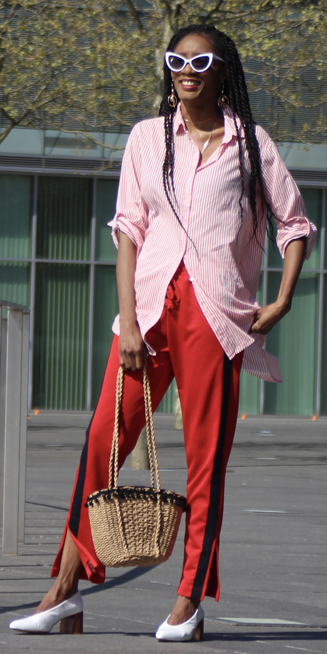 pink-light-collared-shirt-trackpants-white-shoe-pumps-tan-bag-straw-sun-brun-red-joggers-pants-spring-summer-lunch.jpeg