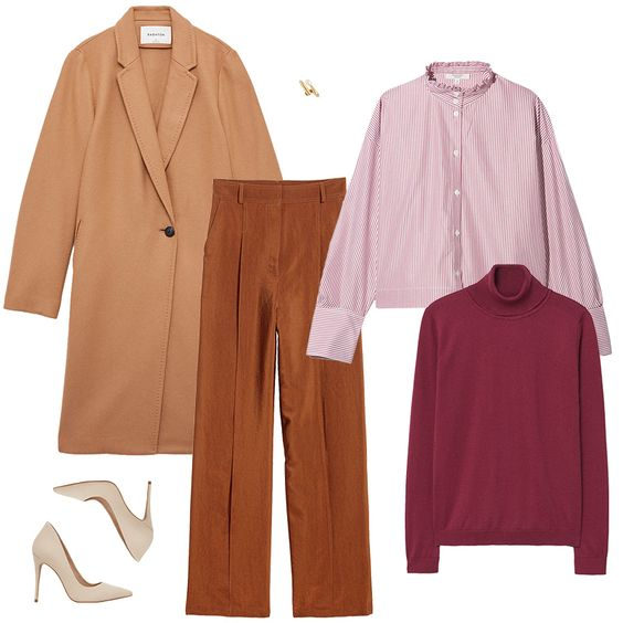 camel-wideleg-pants-pink-light-collared-shirt-burgundy-sweater-turtleneck-tan-jacket-coat-white-shoe-pumps-studs-layer-fall-winter-work.jpg