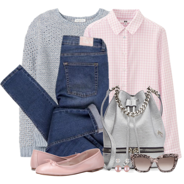 blue-navy-skinny-jeans-pink-light-collared-shirt-gingham-grayl-sweater-pink-shoe-flats-sun-pearl-earrings-gray-bag-fall-winter-lunch.jpg