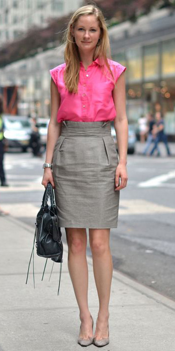 grayl-pencil-skirt-pink-magenta-collared-shirt-gray-shoe-pumps-black-bag-spring-summer-blonde-work.jpg