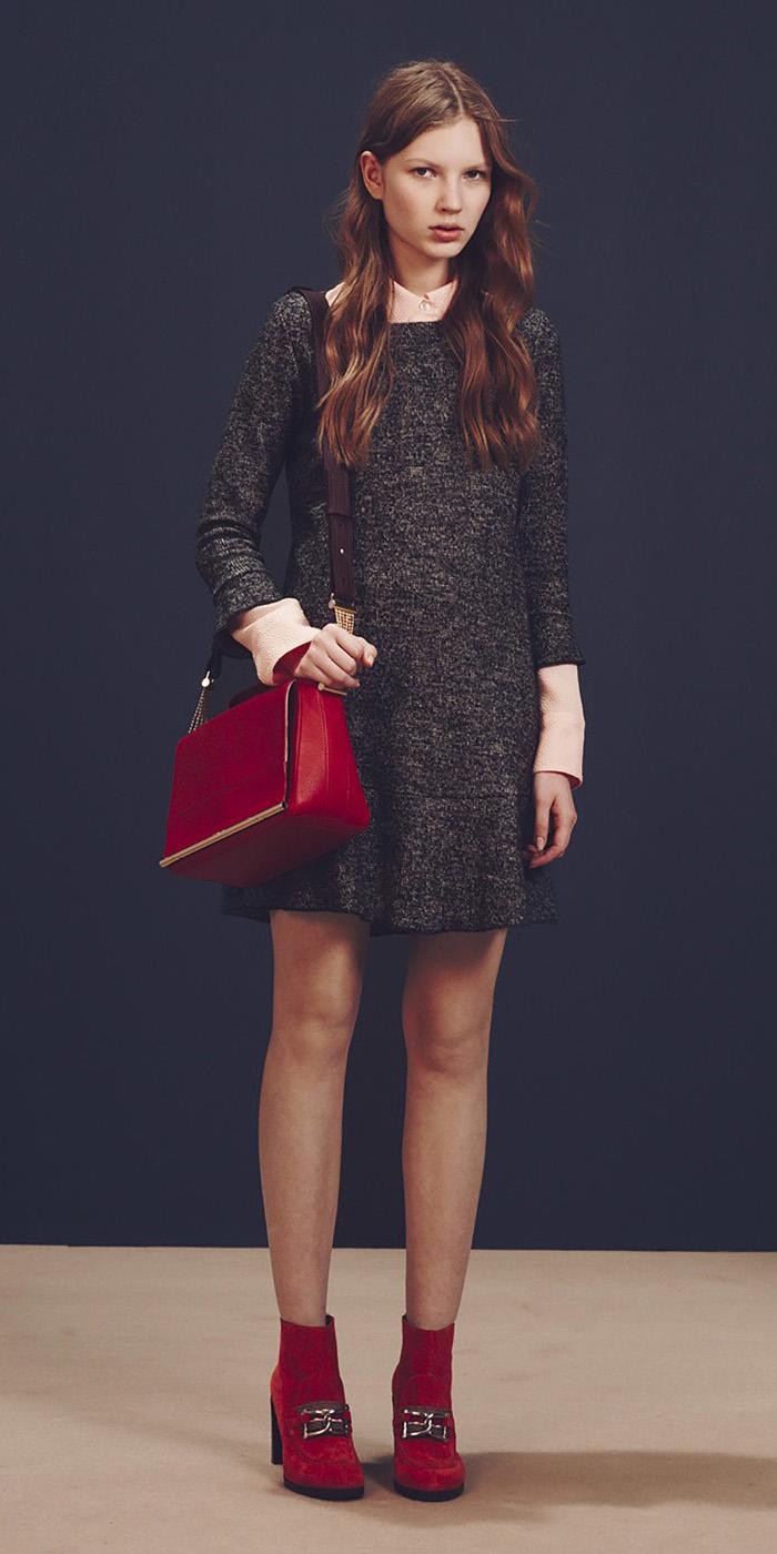 grayd-dress-sweater-red-bag-red-shoe-booties-peach-collared-shirt-fall-winter-hairr-lunch.jpg