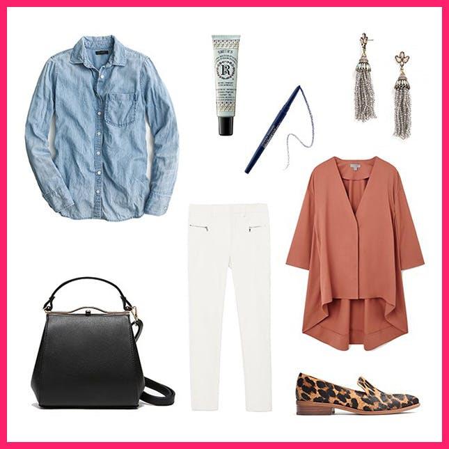 white-slim-pants-blue-light-collared-shirt-chambray-black-bag-brown-shoe-loafers-leopard-print-earrings-peach-jacket-blazer-spring-summer-work.jpg