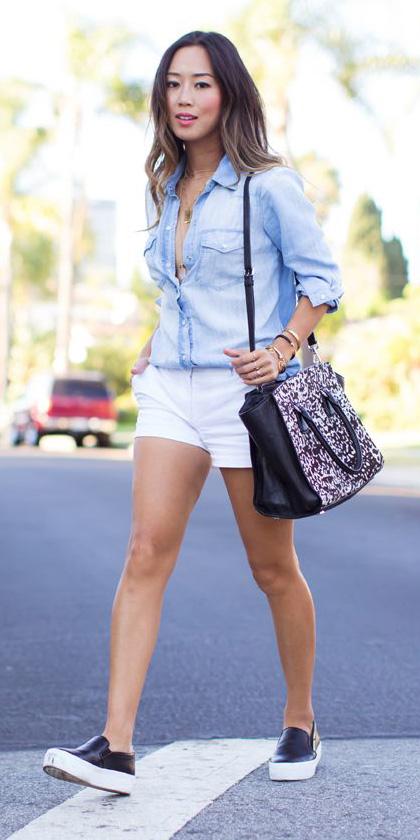 white-shorts-blue-light-collared-shirt-necklace-brun-tan-bag-leopard-print-black-shoe-sneakers-spring-summer-weekend.jpg
