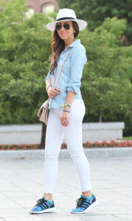 white-skinny-jeans-blue-shoe-sneakers-tan-bag-bracelet-blue-light-collared-shirt-sun-hat-hairr-spring-summer-weekend.jpg