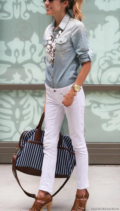 white-skinny-jeans-blue-light-collared-shirt-bib-necklace-cognac-shoe-sandalh-blonde-pony-watch-spring-summer-lunch.jpg