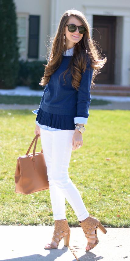white-skinny-jeans-coganc-bag-cognac-shoe-sandalh-blue-navy-sweater-sweatshirt-blue-light-collared-shirt-earrings-hairr-spring-summer-lunch.jpg