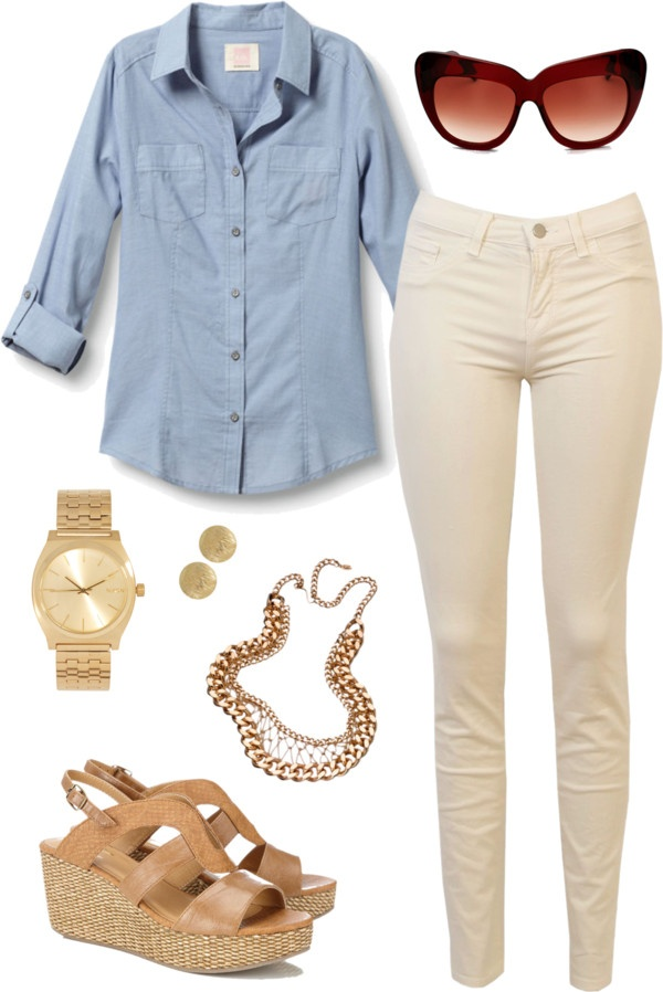 white-skinny-jeans-blue-light-collared-shirt-sun-necklace-chain-watch-studs-tan-shoe-sandalw-spring-summer-lunch.jpg