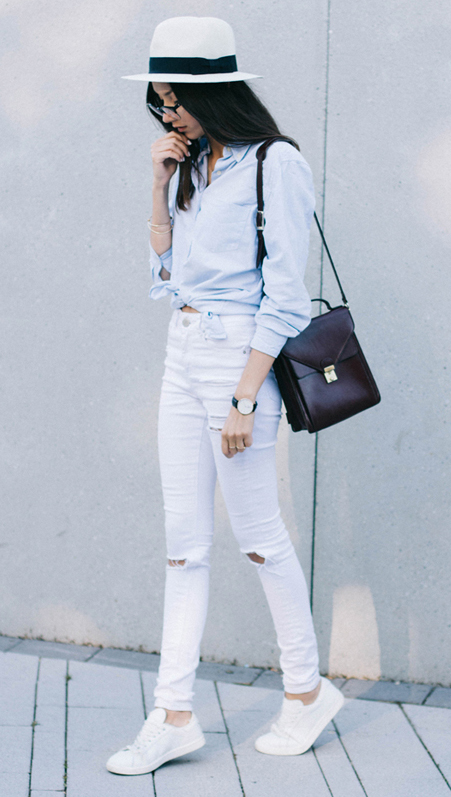 white-skinny-jeans-blue-light-collared-shirt-black-bag-white-shoe-sneakers-hat-panama-watch-howtowear-fashion-style-spring-summer-outfit-brun-weekend.jpg