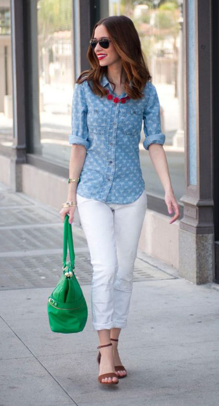 white-skinny-jeans-blue-light-collared-shirt-necklace-green-bag-brown-shoe-sandalh-sun-howtowear-fashion-style-outfit-spring-summer-hairr-lunch.jpg