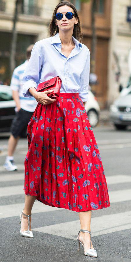 red-midi-skirt-blue-light-collared-shirt-sun-hairr-red-bag-gray-shoe-pumps-fall-winter-lunch.jpg