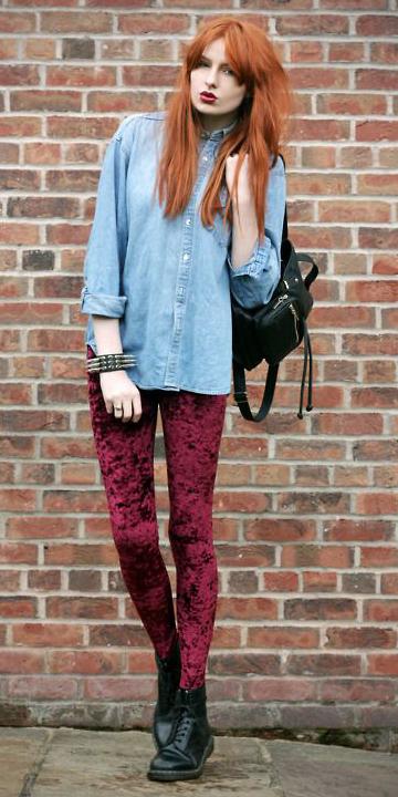 red-leggings-shirt-blue-light-collared-shirt-black-shoe-booties-black-bag-bracelet-velvet-wear-outfit-fashion-fall-winter-denim-hairr-weekend.jpg