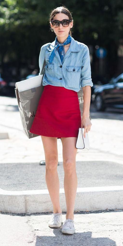 red-mini-skirt-blue-light-collared-shirt-blue-med-scarf-neck-hairr-bun-sun-white-shoe-sneakers-spring-summer-weekend.jpg