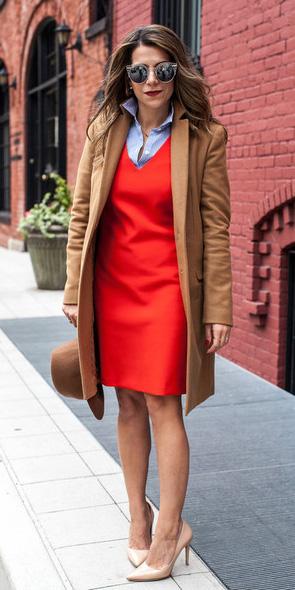 red-dress-shift-blue-light-collared-shirt-layer-sun-hat-tan-shoe-pumps-camel-jacket-coat-fall-winter-hairr-work.jpg