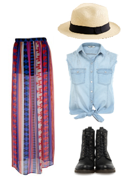 red-maxi-skirt-blue-light-collared-shirt-print-sheer-hat-panama-black-shoe-booties-festival-howtowear-fashion-style-spring-summer-outfit-weekend.jpg