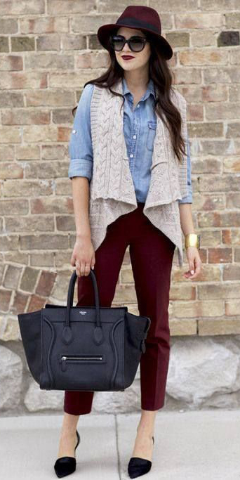 burgundy-slim-pants-blue-light-collared-shirt-black-shoe-pumps-black-bag-tote-brun-sun-hat-grayl-vest-knit-fall-winter-lunch.jpg