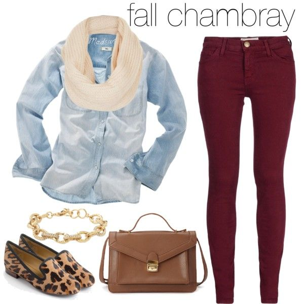 burgundy-skinny-jeans-blue-light-collared-shirt-white-scarf-cognac-bag-cognac-shoe-loafers-leopard-print-chambray-fall-winter-weekend.jpg