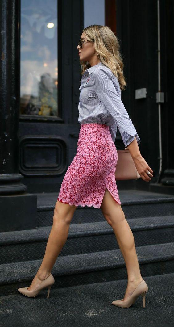 pink-magenta-pencil-skirt-lace-blue-light-collared-shirt-blonde-tan-shoe-pumps-spring-summer-work.jpg