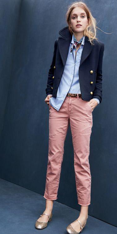 pink-light-chino-pants-blue-light-collared-shirt-blue-light-scarf-neck-blue-navy-jacket-coat-peacoat-belt-tan-shoe-flats-fall-winter-blonde-lunch.jpg