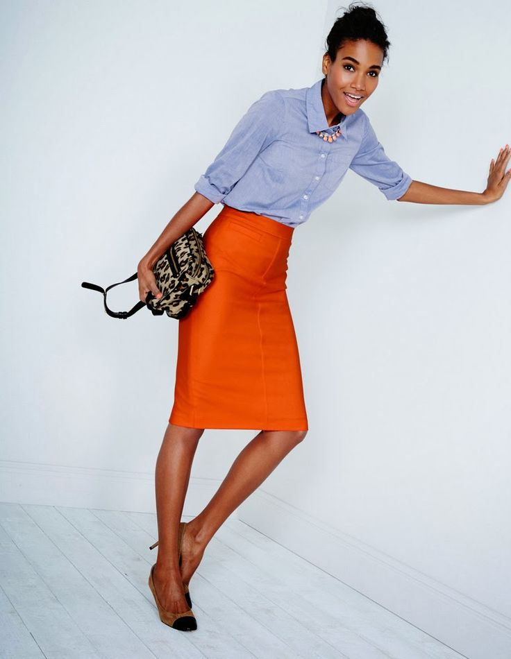 orange-pencil-skirt-blue-light-collared-shirt-necklace-tan-bag-leopard-bun-tan-shoe-pumps-spring-summer-brun-work.jpg
