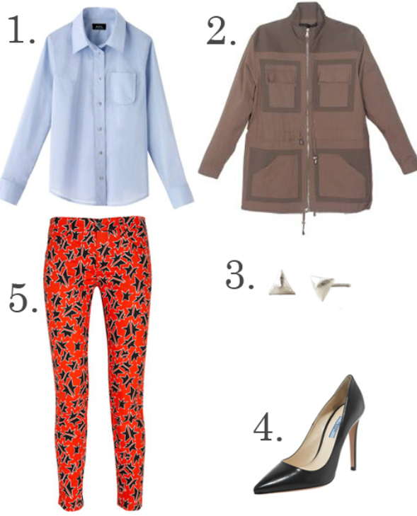 orange-slim-pants-blue-light-collared-shirt-brown-jacket-utility-howtowear-fashion-style-outfit-fall-winter-safari-studs-black-shoe-pumps-lunch.jpg
