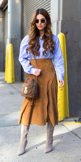 camel-midi-skirt-blue-light-collared-shirt-brown-bag-gray-shoe-boots-hairr-fall-winter-lunch.jpg