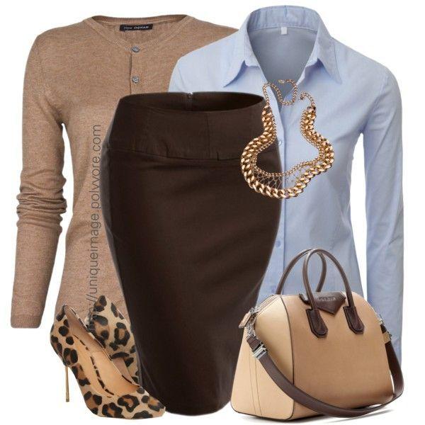 brown-pencil-skirt-blue-light-collared-shirt-camel-cardigan-tan-shoe-pumps-leopard-tan-bag-chain-necklace-fall-winter-work.jpg