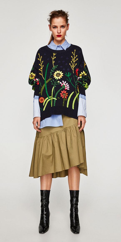 tan-midi-skirt-blue-light-collared-shirt-blue-navy-sweater-floral-print-black-shoe-booties-zara-pony-fall-winter-hairr-lunch.jpg