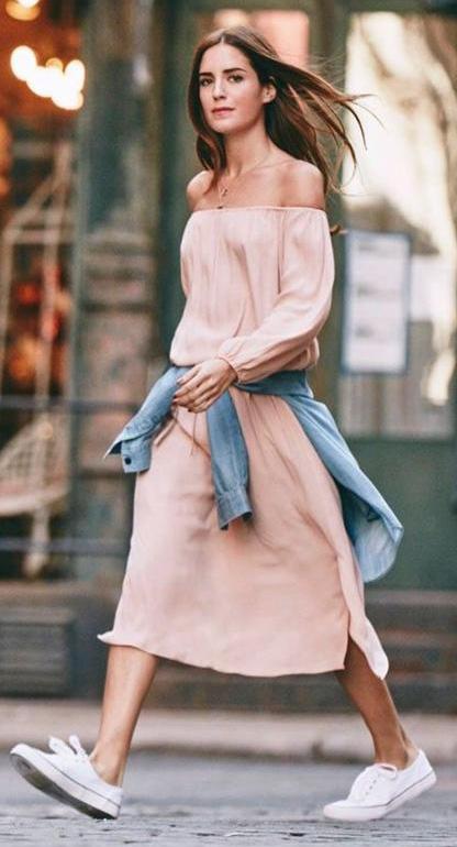 peach-dress-midi-offshoulder-blue-light-collared-shirt-hairr-white-shoe-sneakers-spring-summer-weekend.jpg