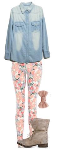 peach-skinny-jeans-tan-shoe-booties-blue-light-collared-shirt-floral-print-spring-summer-weekend.jpg