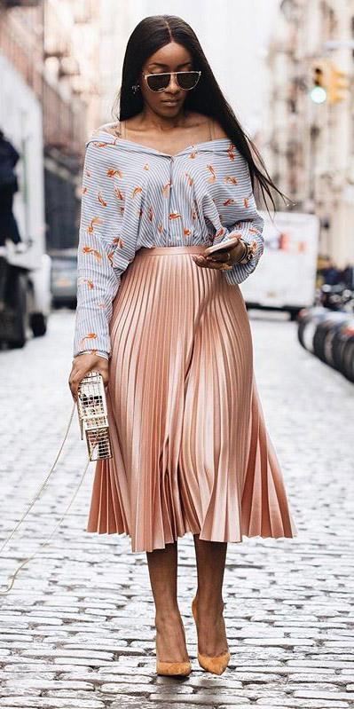 peach-midi-skirt-pleat-blue-light-collared-shirt-stripe-pleated-brun-spring-summer-dinner.jpg