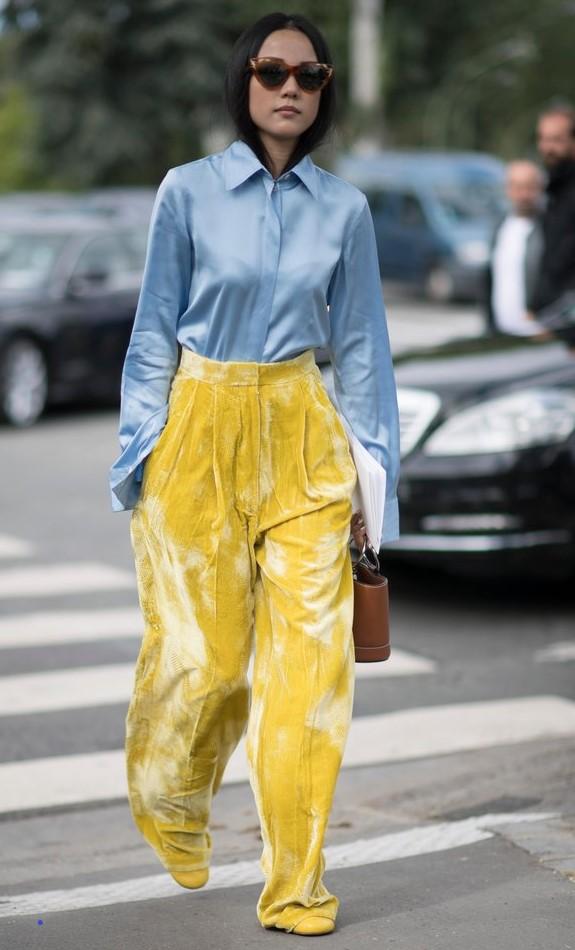 yellow-wideleg-pants-velvet-blue-light-collared-shirt-brun-sun-cognac-bag-fall-winter-lunch.jpg